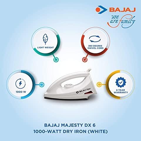 Bajaj Majesty DX 6 1000-Watt Dry Iron features