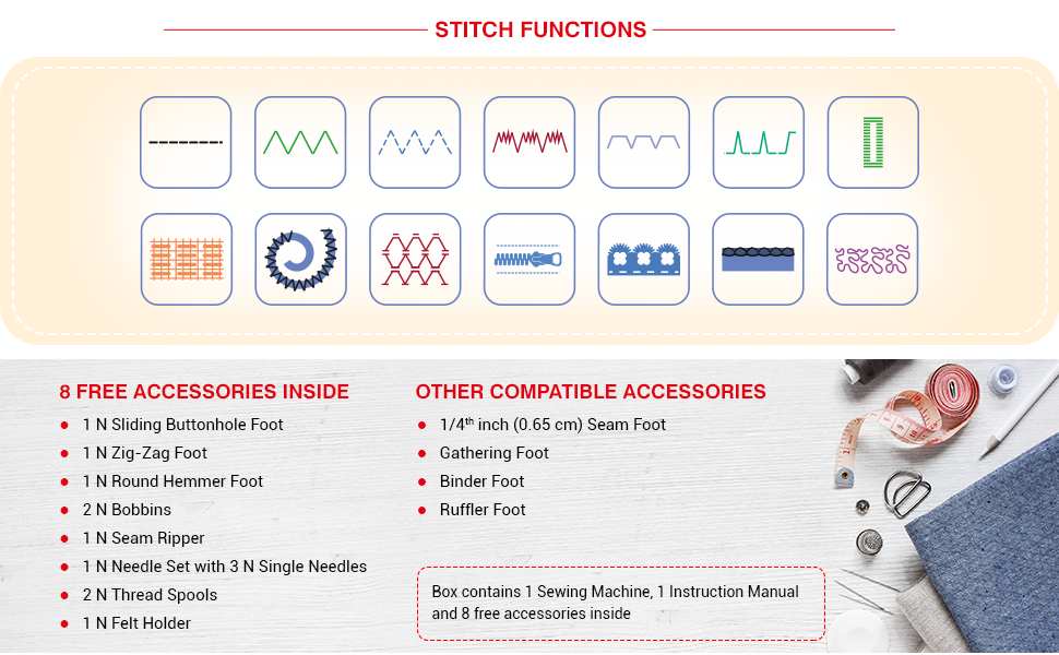 Usha Janome Dream Stitch Sewing Machine features and stitching functions